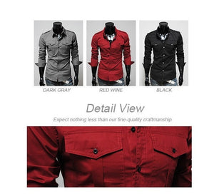 Two-Pocket Slim Long-Sleeved Shirt - Casual Shirts - eDealRetail - 8