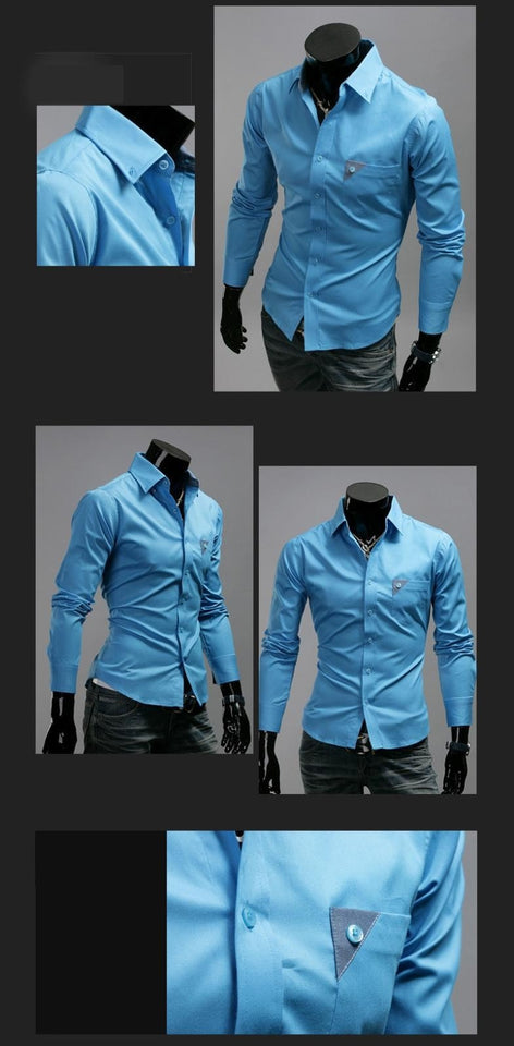 Men's Bright Leisure Self-Cultivation Shirts 4 Colors - Dress Shirts - eDealRetail - 7
