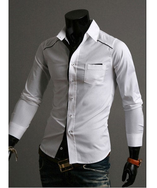 Mens Fashion Slim Fit Casual Dress Shirts - Casual Shirts - eDealRetail - 4