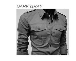Two-Pocket Slim Long-Sleeved Shirt - Casual Shirts - eDealRetail - 9