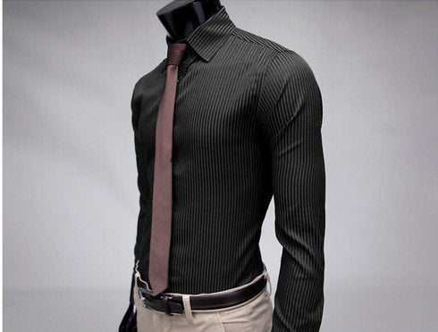 Men's Stripe Stylish Long Sleeve Dress Shirts - Dress Shirts - eDealRetail - 8