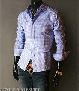 Spring French Plaid  Long Sleeve Collar Shirts - Casual Shirts - eDealRetail - 2