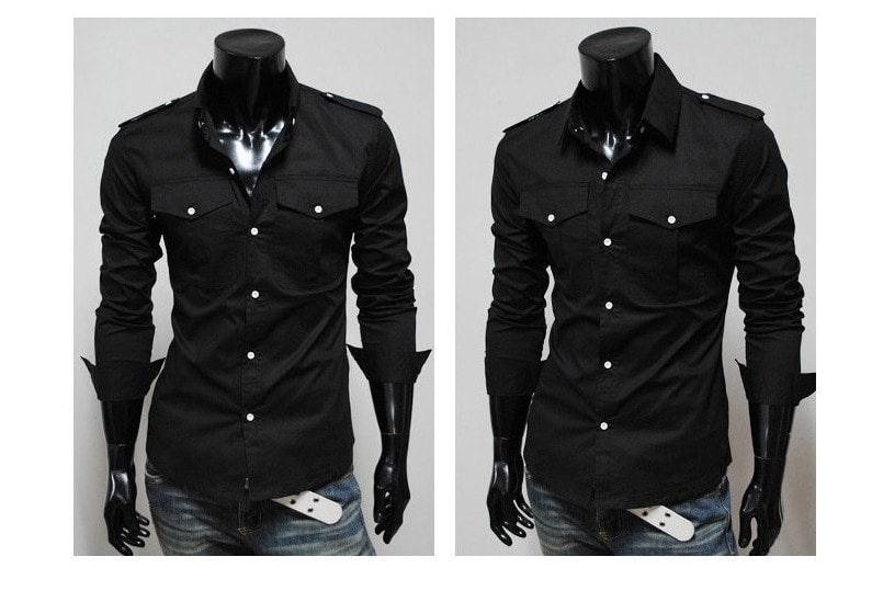 Two-Pocket Slim Long-Sleeved Shirt - Casual Shirts - eDealRetail - 3