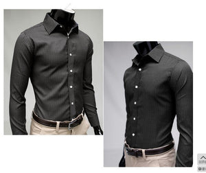 Men's Stripe Stylish Long Sleeve Dress Shirts - Dress Shirts - eDealRetail - 3