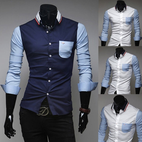 Mens Slim Fit Shirts Block Decoration Fashion Long-Sleeve Pocket Tee - Casual Shirts - eDealRetail - 6