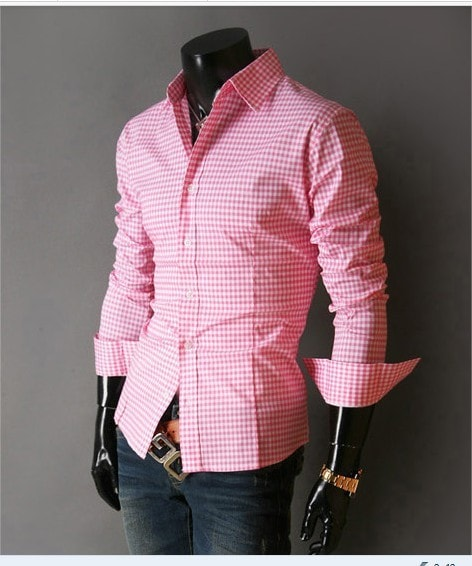 Spring French Plaid  Long Sleeve Collar Shirts - Casual Shirts - eDealRetail - 5