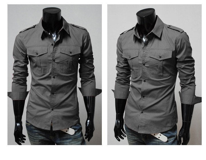 Two-Pocket Slim Long-Sleeved Shirt - Casual Shirts - eDealRetail - 4