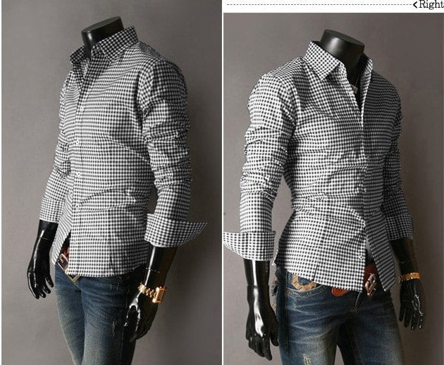 Spring French Plaid  Long Sleeve Collar Shirts - Casual Shirts - eDealRetail - 6
