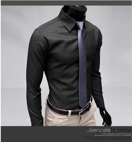 Men's Stripe Stylish Long Sleeve Dress Shirts - Dress Shirts - eDealRetail - 6