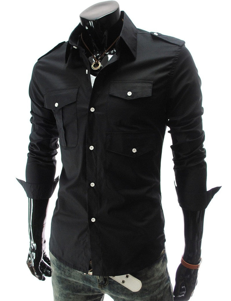 Casual Long Sleeve Solid Dress Shirts - Casual Shirts - eDealRetail - 9