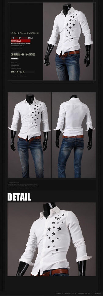 Print Star Long-Sleeve Slim Dress Shirts - Casual Shirts - eDealRetail - 6