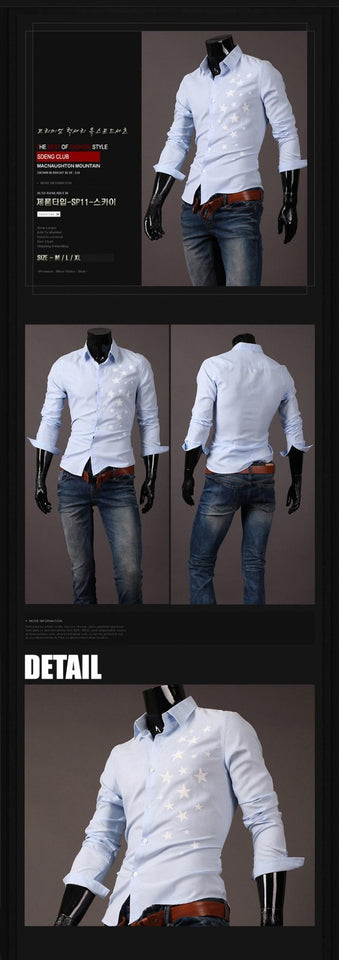 Print Star Long-Sleeve Slim Dress Shirts - Casual Shirts - eDealRetail - 7