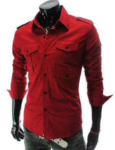 Casual Long Sleeve Solid Dress Shirts - Casual Shirts - eDealRetail - 11