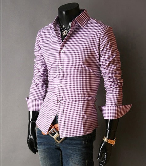 Spring French Plaid  Long Sleeve Collar Shirts - Casual Shirts - eDealRetail - 10