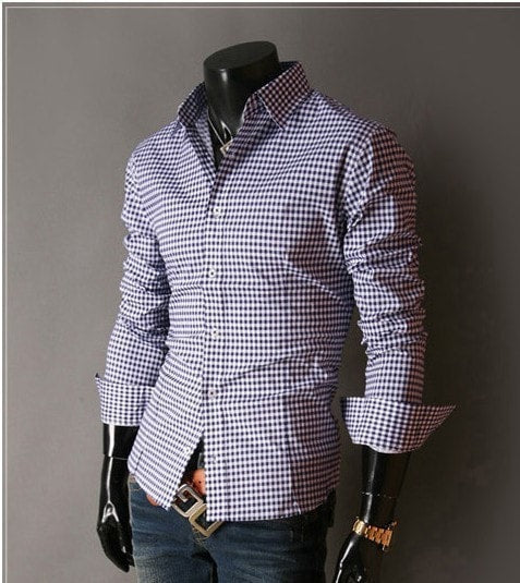 Spring French Plaid  Long Sleeve Collar Shirts - Casual Shirts - eDealRetail - 11