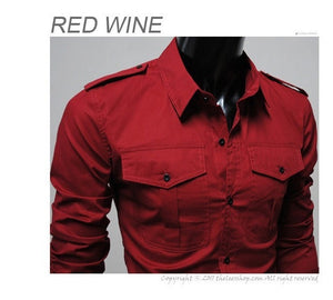 Two-Pocket Slim Long-Sleeved Shirt - Casual Shirts - eDealRetail - 7