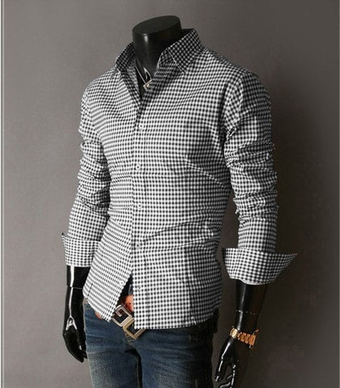 Spring French Plaid  Long Sleeve Collar Shirts - Casual Shirts - eDealRetail - 12