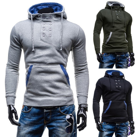 2016 Stylish Collar Button Hoodie - Hoodies - eDealRetail - 1