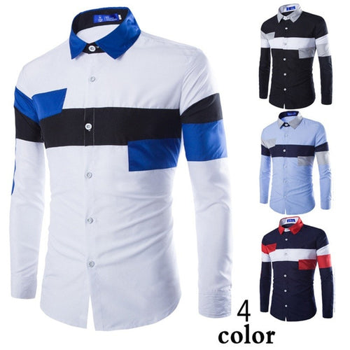 2016 European Striped Long Sleeve Dress Shirts - Dress Shirts - eDealRetail - 1