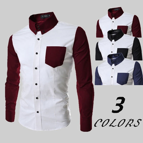 2016 Stylish Patchwork Long Sleeve Shirts - Dress Shirts - eDealRetail - 1