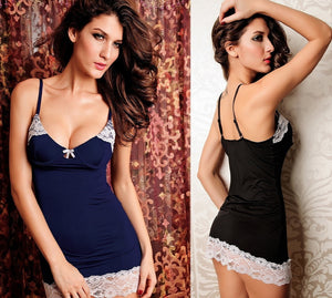 Blue & Black Sexy Trim Lace Nightwear - lingerie - eDealRetail - 1