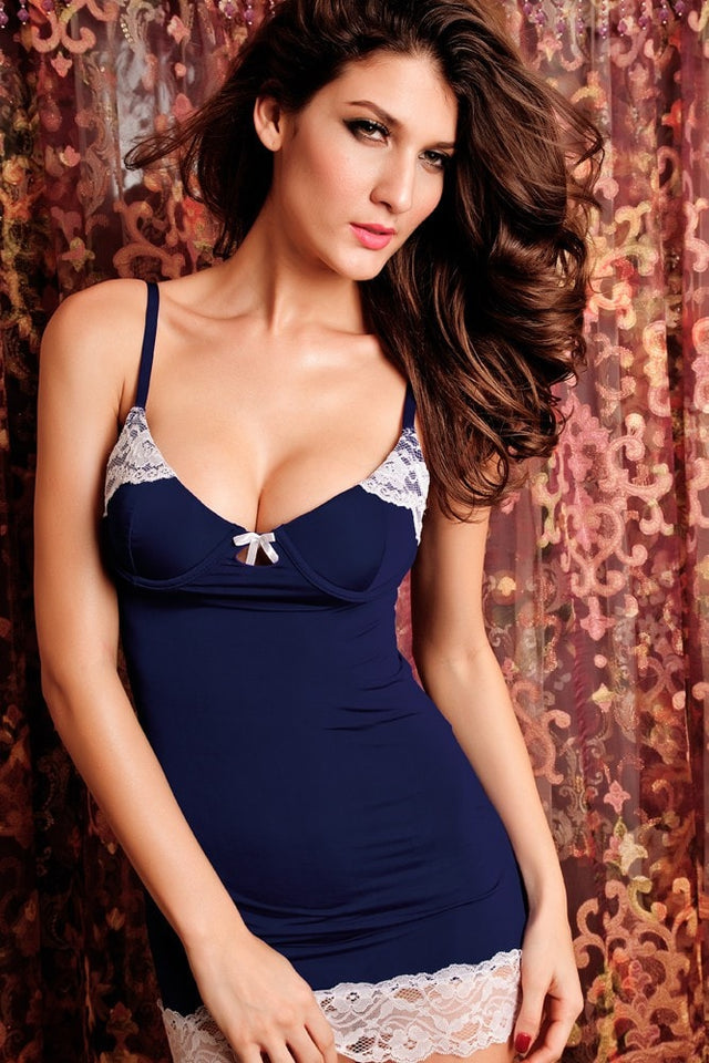 Blue & Black Sexy Trim Lace Nightwear - lingerie - eDealRetail - 2