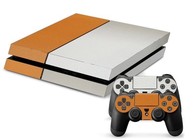 Orange White Leather Print PS4 Skin + 2 Controller Skins - PS4 Skins - eDealRetail - 1