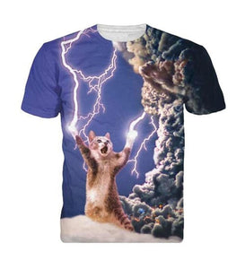 Lightning Cat Short Sleeve 3D Shirt - 3D T-Shirts - eDealRetail