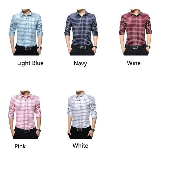 Long Sleeve Plaid Collar Shirts - Dress Shirts - eDealRetail - 8