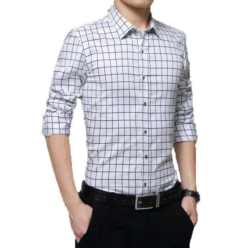 Long Sleeve Plaid Collar Shirts - Dress Shirts - eDealRetail - 7
