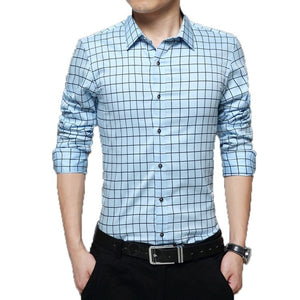Long Sleeve Plaid Collar Shirts - Dress Shirts - eDealRetail - 4