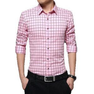 Long Sleeve Plaid Collar Shirts - Dress Shirts - eDealRetail - 5