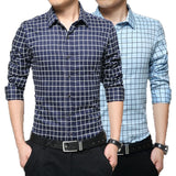 Long Sleeve Plaid Collar Shirts - Dress Shirts - eDealRetail - 1