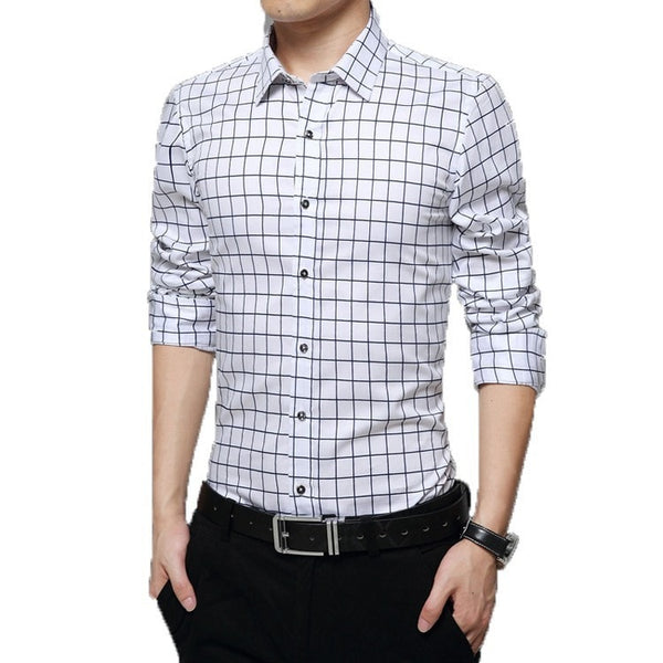 Long Sleeve Plaid Collar Shirts - Dress Shirts - eDealRetail - 6