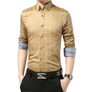 2016 Long Sleeve Plaid Dress Shirts - Dress Shirts - eDealRetail - 5