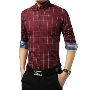 2016 Long Sleeve Plaid Dress Shirts - Dress Shirts - eDealRetail - 6