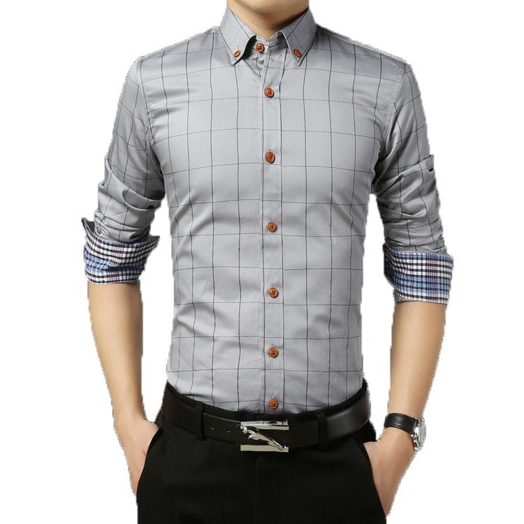 2016 Long Sleeve Plaid Dress Shirts - Dress Shirts - eDealRetail - 4