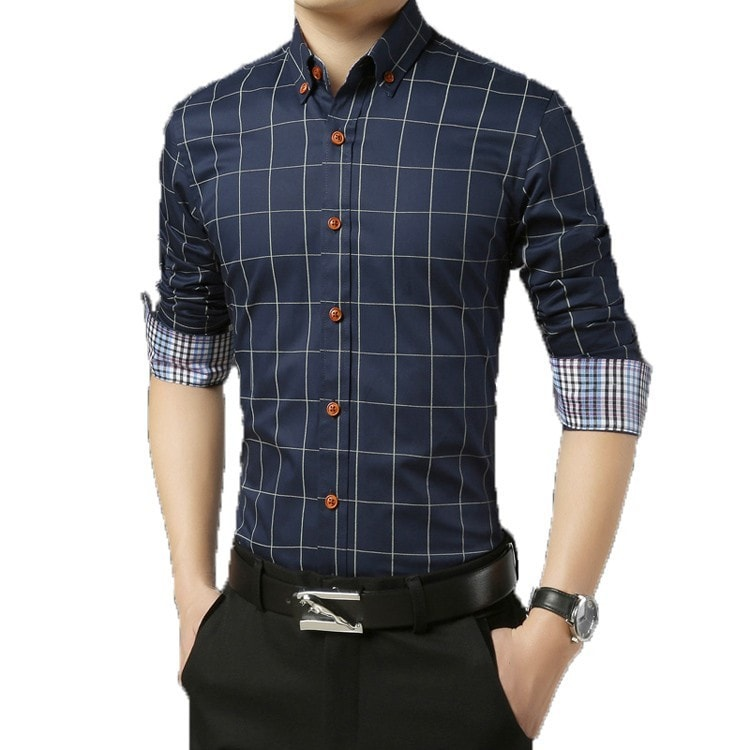 2016 Long Sleeve Plaid Dress Shirts - Dress Shirts - eDealRetail - 2