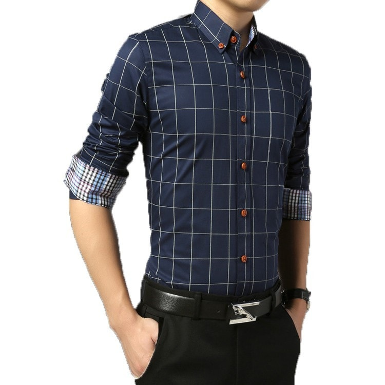 2016 Long Sleeve Plaid Dress Shirts - Dress Shirts - eDealRetail - 3