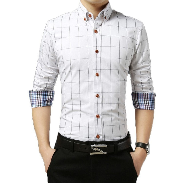 2016 Long Sleeve Plaid Dress Shirts - Dress Shirts - eDealRetail - 7