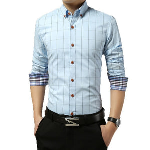 2016 Long Sleeve Plaid Dress Shirts - Dress Shirts - eDealRetail - 8