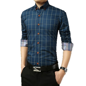 2016 Long Sleeve Plaid Dress Shirts - Dress Shirts - eDealRetail - 9