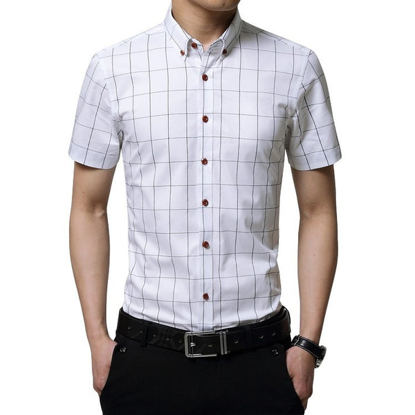 2016 Short Sleeve Plaid Dress Shirts - Dress Shirts - eDealRetail - 4