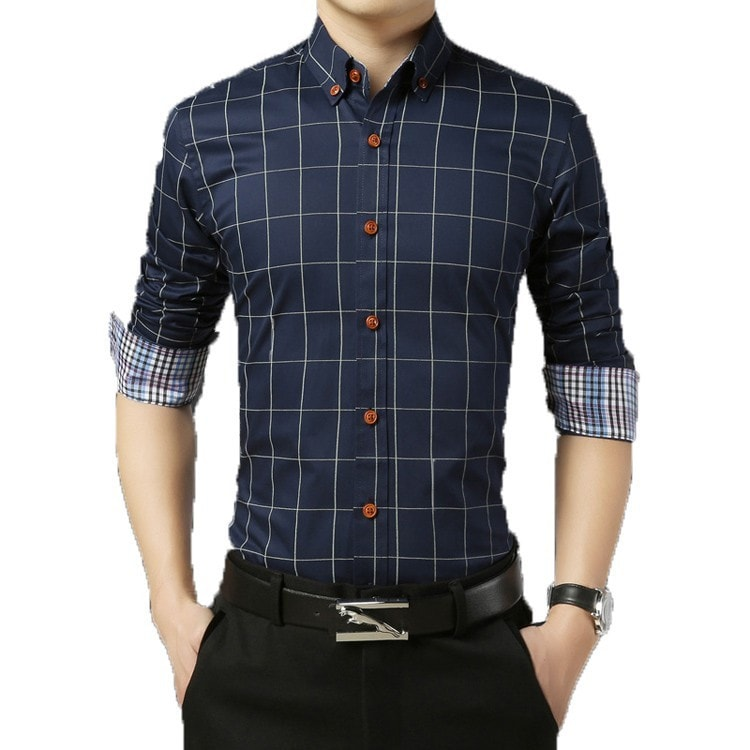 2016 Long Sleeve Plaid Dress Shirts - Dress Shirts - eDealRetail - 1
