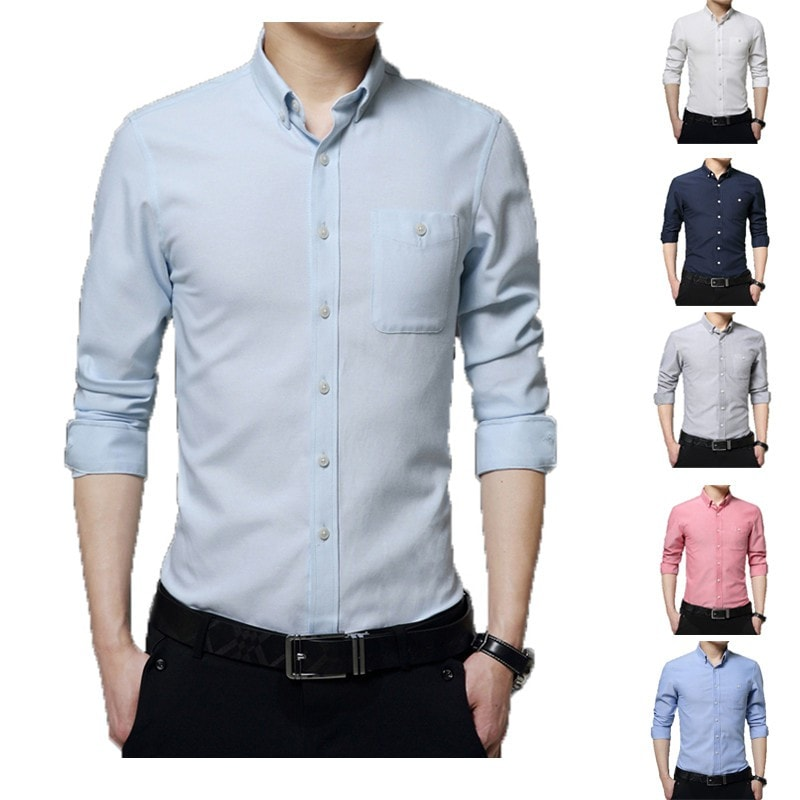 2016 Long Sleeve Solid Color Dress Shirt - Dress Shirts - eDealRetail - 1