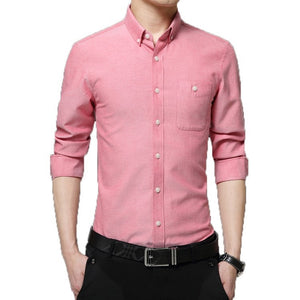 2016 Long Sleeve Solid Color Dress Shirt - Dress Shirts - eDealRetail - 5