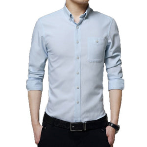 2016 Long Sleeve Solid Color Dress Shirt - Dress Shirts - eDealRetail - 6
