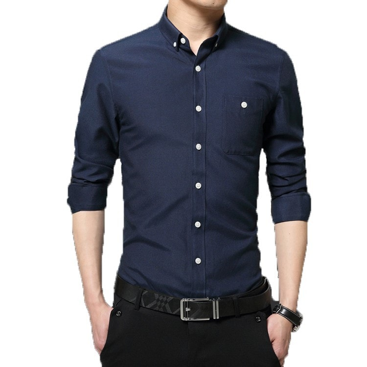 2016 Long Sleeve Solid Color Dress Shirt - Dress Shirts - eDealRetail - 2