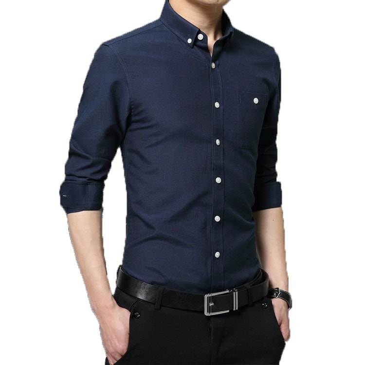 2016 Long Sleeve Solid Color Dress Shirt - Dress Shirts - eDealRetail - 3