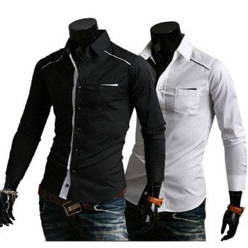 Mens Fashion Slim Fit Casual Dress Shirts - Casual Shirts - eDealRetail - 1
